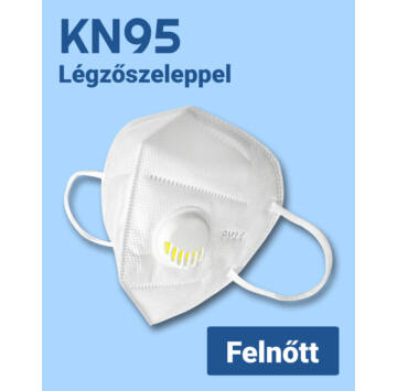 KN95 többször használatos légzőszelepes Szájmaszk - Felnőtt méret (11018)