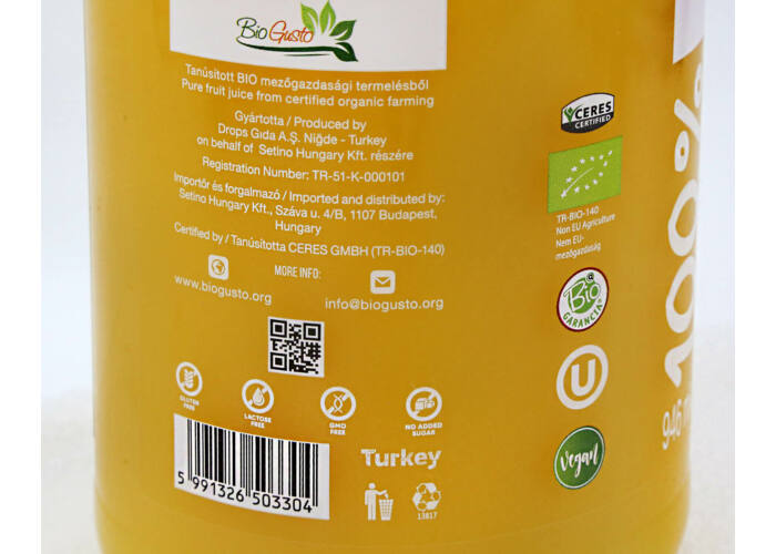 SETINO BIO 100% Narancslé, 946 ml (HU-ÖKO-02)
