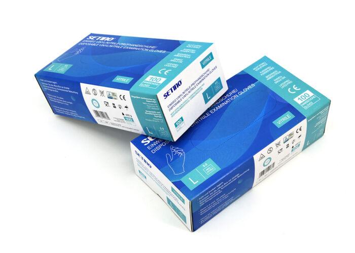 Setino - Egyszer használatos Vitril kesztyű 100db - L (8-9) méret